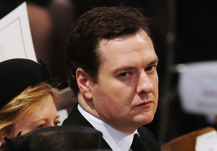 George Osborne, Chancellor of the Exchequer, attends the funeral service of former British prime minister Margaret Thatcher at St Paul's Cat