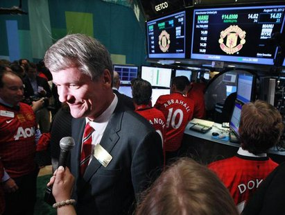 Manchester United CEO David Gill gives an interview following Manchester United Ltd initial public offering on the floor of the New York Sto