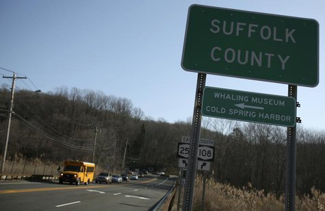 A Suffolk County sign is seen along the road entering Cold Spring Harbor, New York March 7, 2012. REUTERS/Shannon Stapleton