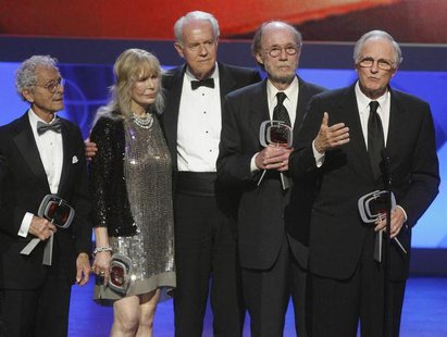 "Cast members of ""M*A*S*H*"" (L-R) Allan Arbus, Loretta Swit, Mike Farrell, Burt Metcalfe and Alan Alda accept the Impact award at the taping"