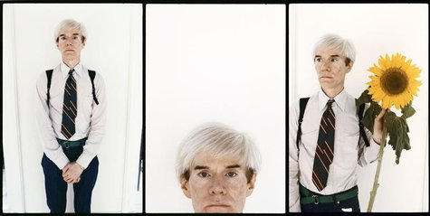 Artist Andy Warhol is shown in three images from a series of recently discovered portraits by photographer Steve Wood, in these publicity im