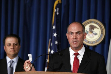 Derek Maltz (R), special agent-in-charge in the DEA special operations division during a news conference announcing arrests in two DEA narco