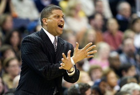 Then Washington Wizards head coach Eddie Jordan directs his team against the Toronto Raptors during their NBA basketball game in Washington