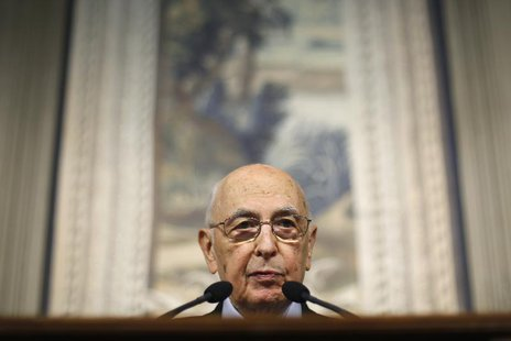 Italy's President Giorgio Napolitano speaks during a news conference at the Quirinale Presidential palace in Rome March 22, 2013. REUTERS/Ma
