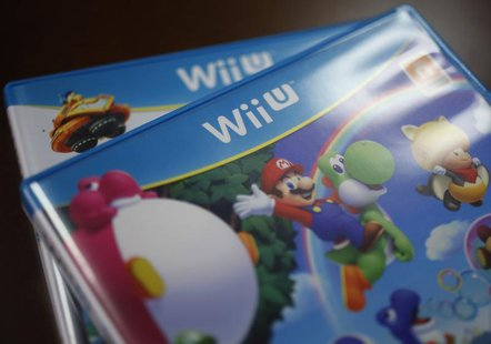 Packages of Nintendo Co's Wii U gaming software are pictured at the company headquarters in Kyoto, western Japan January 7, 2013. REUTERS/Yu