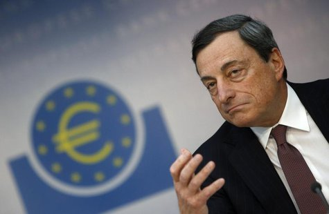 European Central Bank (ECB) President Mario Draghi gestures during the monthly ECB news conference in Frankfurt April 4, 2013. REUTERS/Lisi
