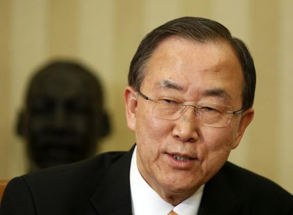 United Nations General Secretary Ban Ki-moon speaks after a meeting with President Barack Obama in the Oval Office of the White House, April