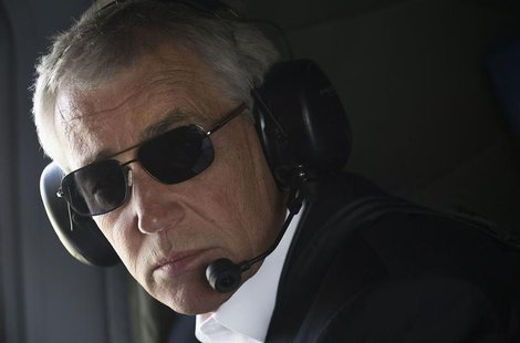 U.S. Defense Secretary Chuck Hagel looks out of the window during a helicopter tour of the Israeli-annexed Golan Heights April 22, 2013. REU