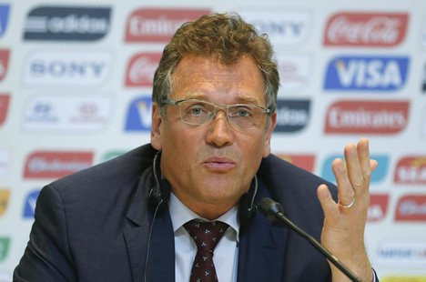 FIFA Secretary General Jerome Valcke responds to a question during the 2014 World Cup Local Organizing Committee (LOC) news conference in Ri