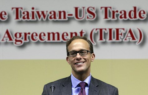 Deputy U.S. Trade Representative Demetrios Marantis smiles before the seventh round of U.S.-Taiwan talks under the Trade and Investment Fram