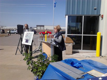 NTC President Lori Weyers speaks at the ribbon cutting for the Public Safety Center in Merrill