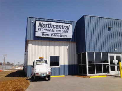 The front of the new Northcentral Technical College Public Safety Center in Merrill