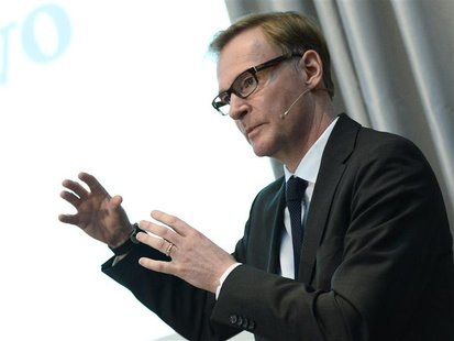 Swedish truck maker AB Volvo Chief Executive Olof Persson speaks during the presentation of the company results for the first quarter 2013 i