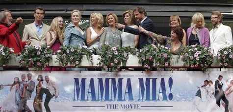 Cast and members of Abba appear together at the premiere of the motion picture version of the musical 'Mamma Mia' in Stockholm July 4, 2008.