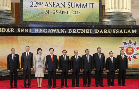 Leaders of the Association of Southeast Asian Nations (ASEAN) pose for a group photo during the 22nd ASEAN Summit in Bandar Seri Begawan Apr