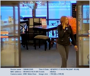 Female suspect in passing fake $100 bills in Ashwaubenon on April 24, 2013 (courtesy of Ashwaubenon Public Safety)