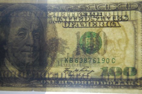 Example of fake $100 bill passed by scammer in Ashwaubenon on April 24, 2013. (courtesy of Ashwaubenon Public Safety)