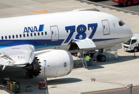 An All Nippon Airways' (ANA) Boeing Co's 787 Dreamliner plane receives restoration work at Okayama airport in Okayama, western Japan, in thi