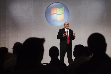 Microsoft CEO Steve Ballmer speaks about the upcoming release of Microsoft's new operating system, Windows 7, in Toronto, October 21, 2009.