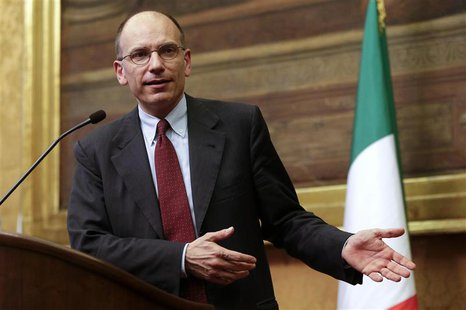 Deputy leader of Italy's centre-left Democratic Party (PD) Enrico Letta talks during a news conference at Montecitorio palace in Rome April