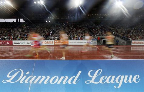 Athletes compete during the men's 3,000m relay Americaine Swiss Post Run (Young Diamond's Challenge) during the Weltklasse Diamond League me