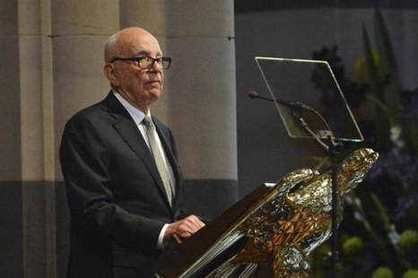 News Corp. Chairman and Chief Executive Rupert Murdoch gives a speech at the state memorial service for his mother Dame Elisabeth Murdoch in