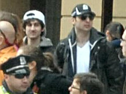 Suspects wanted for questioning in relation to the Boston Marathon bombing April 15 are seen in handout photo released through the FBI websi
