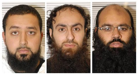 Ashik Ali, Irfan Khalid and Irfan Naseer (L-R) are seen in undated mugshots provided by the West Midlands Police in Birmingham February 21,
