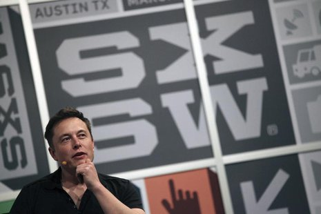 Elon Musk, the chief executive of Tesla Motor, speaks at the South by Southwest Interactive festival in Austin, Texas, March 9, 2013. REUTER