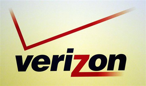 A Verizon logo is seen during the International CTIA WIRELESS Conference & Exposition in New Orleans, Louisiana in this May 9, 2012 file pho