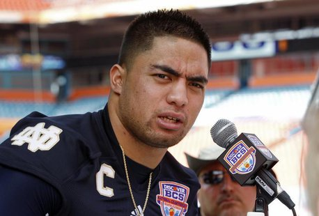 Notre Dame Fighting Irish linebacker Manti Te'o speaks during media day for the 2013 BCS National Championship NCAA football game in Miami,