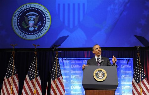 U.S. President Barack Obama speaks at the Planned Parenthood National Conference at the Marriott Wardman Park Hotel in Washington April 26,