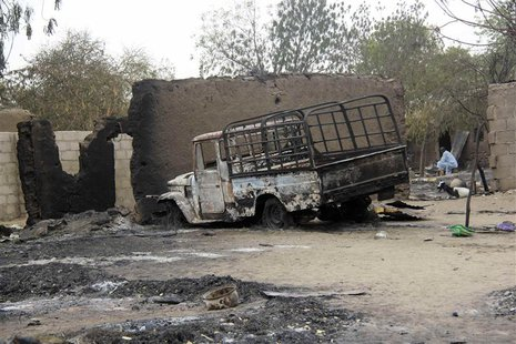 A vehicle used by Islamist militants is pictured damaged after what Nigerian authorities said was heavy fighting between security forces and