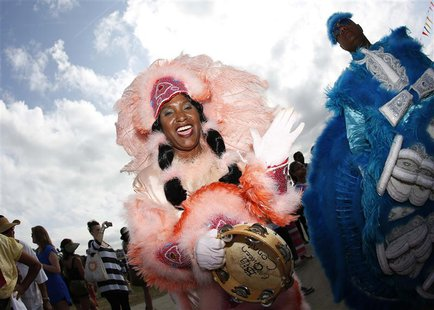 A Mardi Gras Indian parades during the New Orleans Jazz and Heritage Festival in New Orleans, Louisiana April 26, 2013. REUTERS/Jonathan Bac