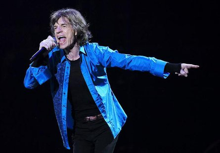 "Mick Jagger performs onstage during the Rolling Stones final concert of their ""50 and Counting Tour"" in Newark, New Jersey, December 15, 201"