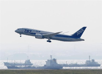 An All Nippon Airways' (ANA) Boeing Co's 787 Dreamliner plane takes off for a test flight at Haneda airport in Tokyo April 28, 2013. REUTERS