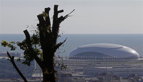 The Bolshoy Ice Dome is seen in the background in Sochi, the host city for the Sochi 2014 Winter Olympics, April 23, 2013. REUTERS/Alexander