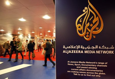 The logo of Al Jazeera Media Network is seen at the MIPTV, the International Television Programs Market, event in Cannes April 2, 2012. REUT