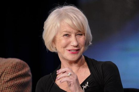 "British actress Helen Mirren takes part in a panel discussion of HBO's ""Phil Spector"" during the 2013 Winter Press Tour for the Television C"