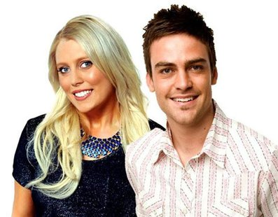 2day FM radio hosts Mel Greig (L) and Michael Christian, pose in Sydney in this picture obtained by Reuters on December 8, 2012. REUTERS/Sou
