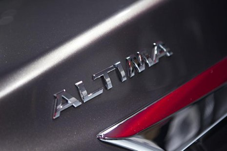 A detail of the new Nissan Altima is seen at the car's unveiling during the 2012 New York International Auto Show at the Javits Center in Ne