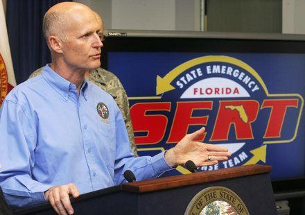 Florida Governor Rick Scott holds a news conference at the State Emergency Operations Center in Tallahassee, Florida, August 27, 2012. REUTE