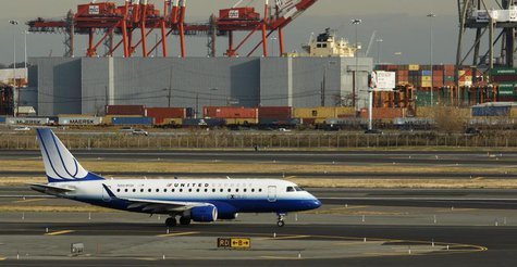 An Embraer ERJ-170 plane from United is seen at Newark Liberty International Airport in Newark, New Jersey November 15, 2012. REUTERS/Eduard
