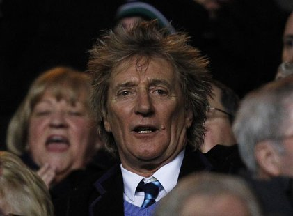 British singer Rod Stewart reacts ahead of the Champions League soccer match between Celtic and Juventus at Celtic Park stadium in Glasgow,