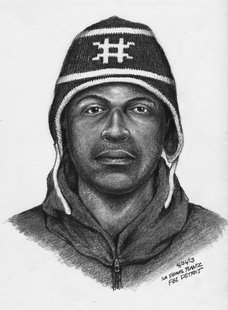 The suspect in the First Community Federal Credit Union robber on April 20th is shown in composite sketch based on eye witness descriptions.