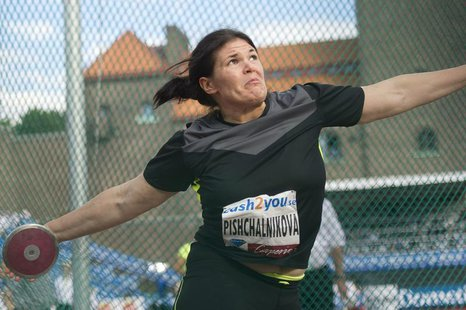 Darya Pishchalnikova of Russia competes in the women's discus event during the Stockholm Diamond League in Stockholm August 17, 2012. REUTER