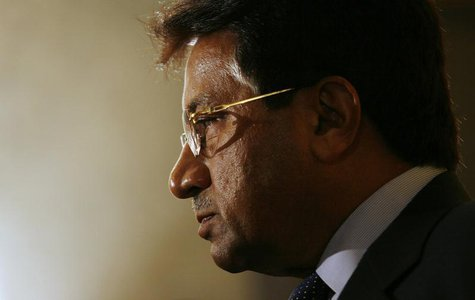 Former Pakistan President Pervez Musharraf meets journalists after attending the CLSA Investors Forum in Hong Kong September 15, 2010. REUTE