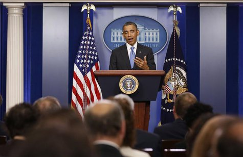 U.S. President Barack Obama talks to the media in the Brady Press Briefing Room at the White House in Washington, April 30, 2013. REUTERS/La