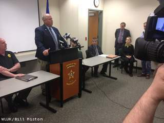 Authorities release some new information in the Waschbisch homicide case at a press conference April 30, 2013. Marinette County Sheriff Jerry Sauve, standing, addresses members of the media. (courtesy of FOX 11).