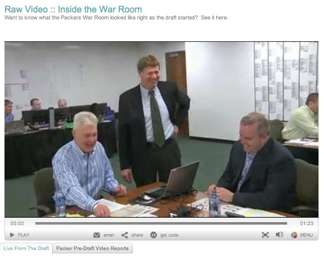 Screen shot of the raw war room video taken minutes before the draft began